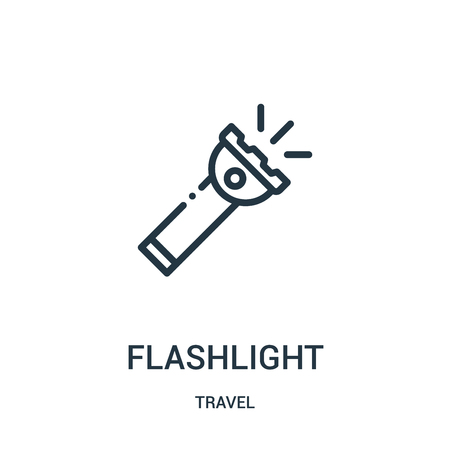 flashlight icon vector from travel collection. Thin line flashlight outline icon vector illustration. Linear symbol for use on web and mobile apps, logo, print media.