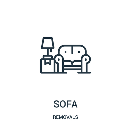 sofa icon vector from removals collection. Thin line sofa outline icon vector illustration. Linear symbol for use on web and mobile apps, logo, print media. Banque d'images - 123470025
