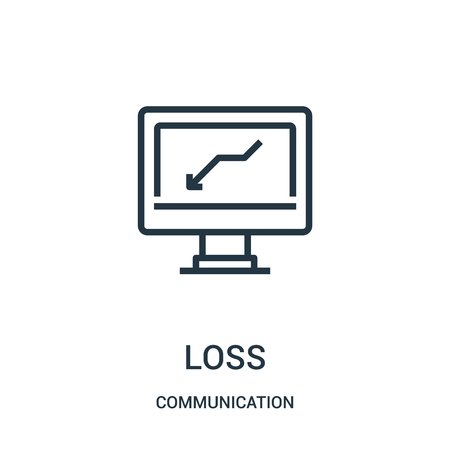 loss icon vector from communication collection. Thin line loss outline icon vector illustration. Linear symbol for use on web and mobile apps, logo, print media.