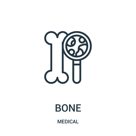 bone icon vector from medical collection. Thin line bone outline icon vector illustration. Linear symbol for use on web and mobile apps, logo, print media.