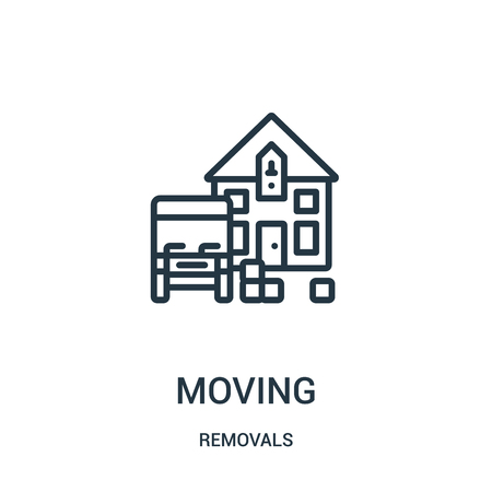 moving icon vector from removals collection. Thin line moving outline icon vector illustration. Linear symbol for use on web and mobile apps, logo, print media. Foto de archivo - 124035448