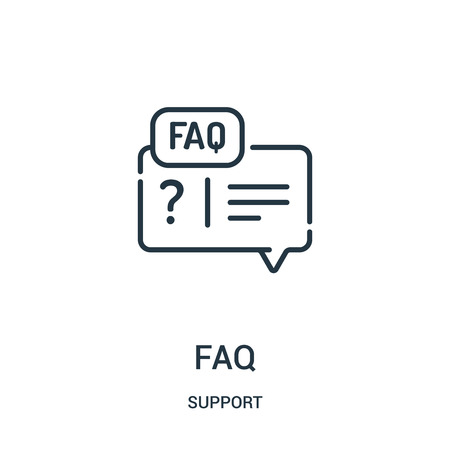 faq icon vector from support collection. Thin line faq outline icon vector illustration. Linear symbol for use on web and mobile apps, logo, print media.