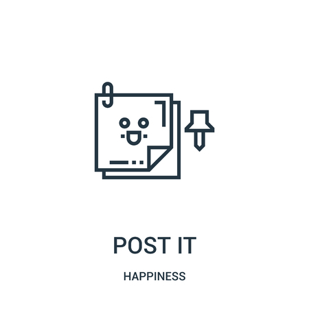 post it icon vector from happiness collection. Thin line post it outline icon vector illustration. Linear symbol for use on web and mobile apps, logo, print media.