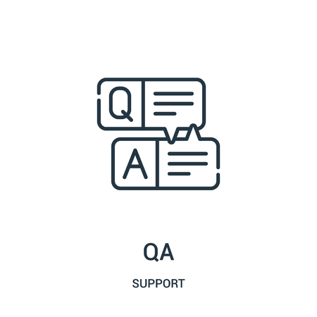 qa icon vector from support collection. Thin line qa outline icon vector illustration. Linear symbol for use on web and mobile apps, logo, print media.