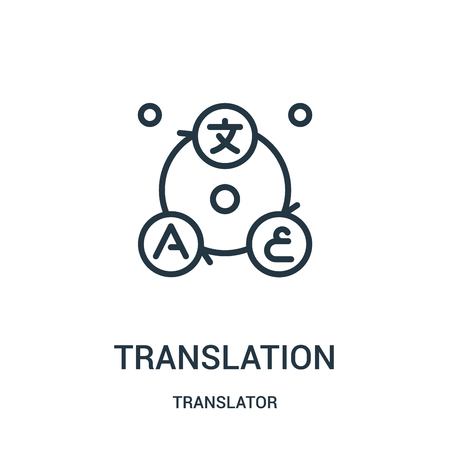 translation icon vector from translator collection. Thin line translation outline icon vector illustration. Linear symbol for use on web and mobile apps, logo, print media.