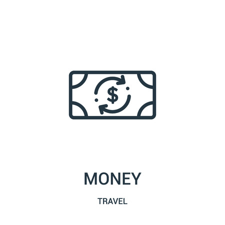 money icon vector from travel collection. Thin line money outline icon vector illustration. Linear symbol for use on web and mobile apps, logo, print media. Illustration