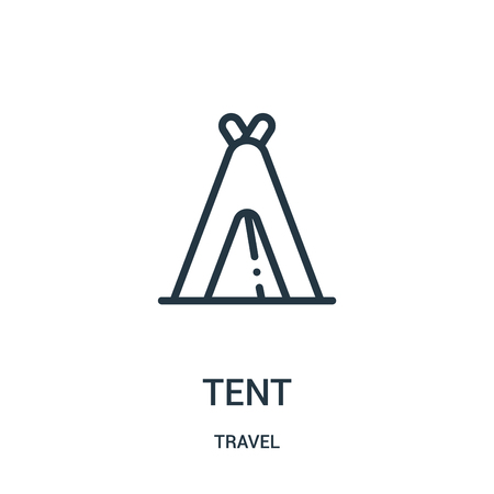 tent icon vector from travel collection. Thin line tent outline icon vector illustration. Linear symbol for use on web and mobile apps, logo, print media.