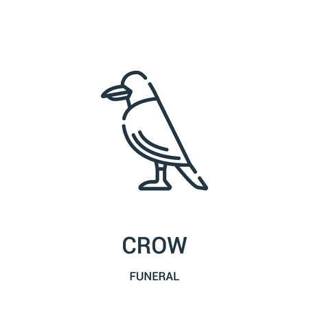 crow icon vector from funeral collection. Thin line crow outline icon vector illustration. Linear symbol for use on web and mobile apps, logo, print media.