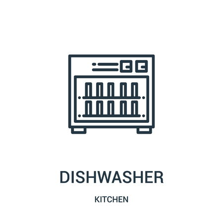 dishwasher icon vector from kitchen collection. Thin line dishwasher outline icon vector illustration. Linear symbol for use on web and mobile apps, logo, print media.