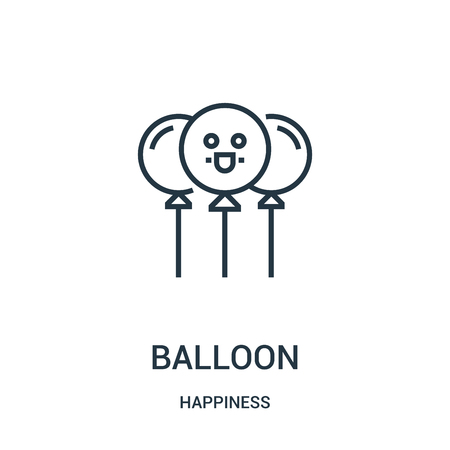 balloon icon vector from happiness collection. Thin line balloon outline icon vector illustration. Linear symbol for use on web and mobile apps, logo, print media.