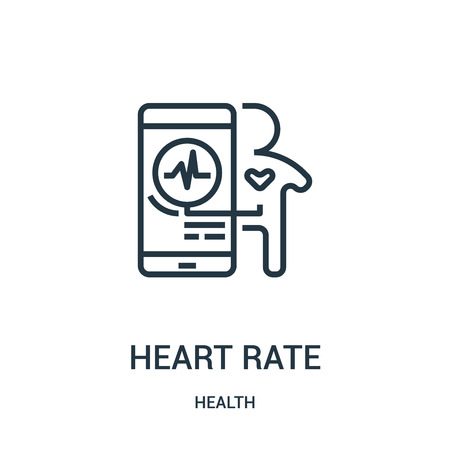 heart rate icon vector from health collection. Thin line heart rate outline icon vector illustration. Linear symbol for use on web and mobile apps, logo, print media.