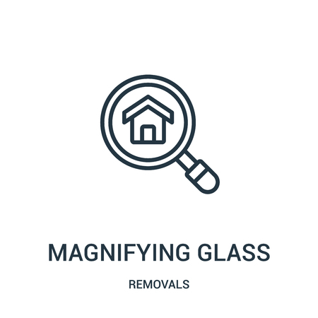 magnifying glass icon vector from removals collection. Thin line magnifying glass outline icon vector illustration. Linear symbol for use on web and mobile apps, logo, print media. Banque d'images - 124035537