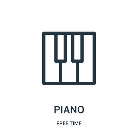piano icon vector from free time collection. Thin line piano outline icon vector illustration. Linear symbol for use on web and mobile apps, logo, print media.
