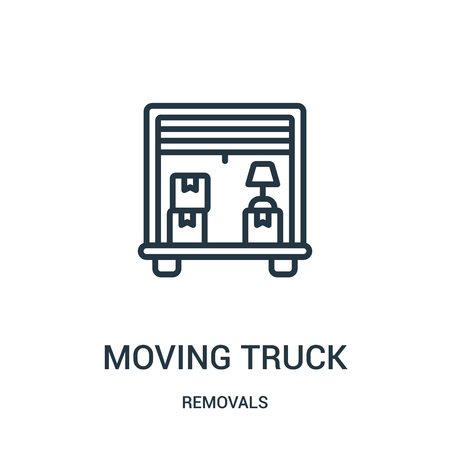 moving truck icon vector from removals collection. Thin line moving truck outline icon vector illustration. Linear symbol for use on web and mobile apps, logo, print media.