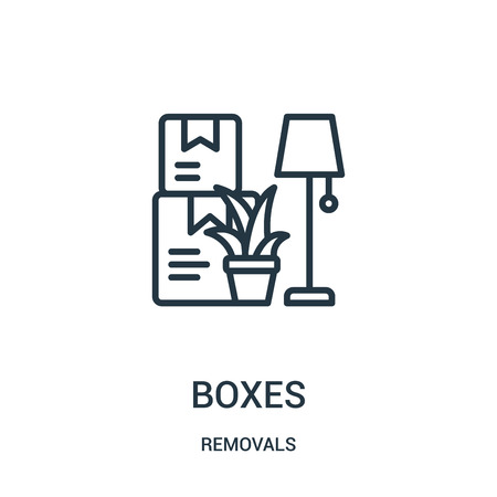 boxes icon vector from removals collection. Thin line boxes outline icon vector illustration. Linear symbol for use on web and mobile apps, logo, print media. Banque d'images - 124035570