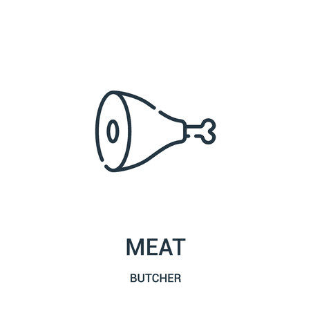 meat icon vector from butcher collection. Thin line meat outline icon vector illustration. Linear symbol for use on web and mobile apps, logo, print media.