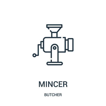 mincer icon vector from butcher collection. Thin line mincer outline icon vector illustration. Linear symbol for use on web and mobile apps, logo, print media.