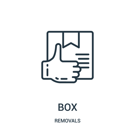 box icon vector from removals collection. Thin line box outline icon vector illustration. Linear symbol for use on web and mobile apps, logo, print media. Banque d'images - 124035650