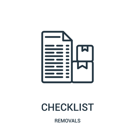 checklist icon vector from removals collection. Thin line checklist outline icon vector illustration. Linear symbol for use on web and mobile apps, logo, print media.