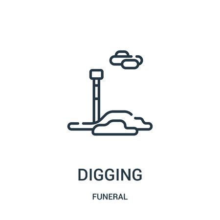 digging icon vector from funeral collection. Thin line digging outline icon vector illustration. Linear symbol for use on web and mobile apps, logo, print media.