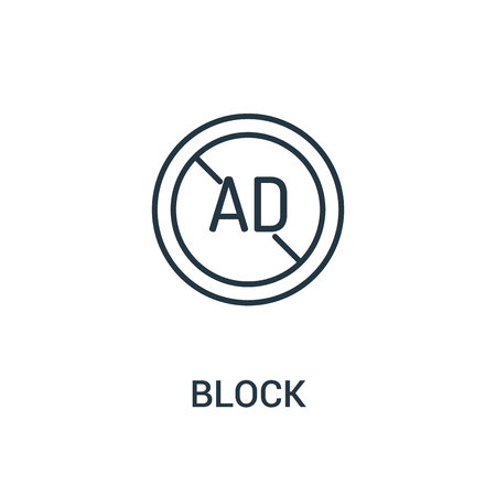 block icon vector from ads collection. Thin line block outline icon vector illustration. Linear symbol for use on web and mobile apps, logo, print media.