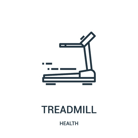 treadmill icon vector from health collection. Thin line treadmill outline icon vector illustration. Linear symbol for use on web and mobile apps, logo, print media.