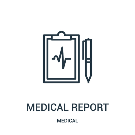 medical report icon vector from medical collection. Thin line medical report outline icon vector illustration. Linear symbol for use on web and mobile apps, logo, print media.