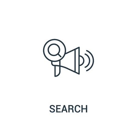 search icon vector from ads collection. Thin line search outline icon vector illustration. Linear symbol for use on web and mobile apps, logo, print media. Vettoriali