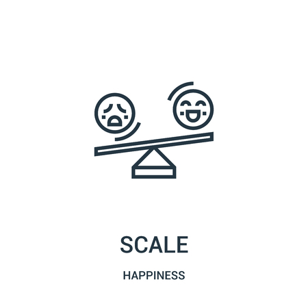 scale icon vector from happiness collection. Thin line scale outline icon vector illustration. Linear symbol for use on web and mobile apps, logo, print media.