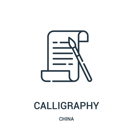 calligraphy icon vector from china collection. Thin line calligraphy outline icon vector illustration. Linear symbol for use on web and mobile apps, logo, print media. Logo