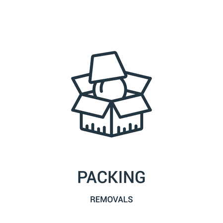 packing icon vector from removals collection. Thin line packing outline icon vector illustration. Linear symbol for use on web and mobile apps, logo, print media.