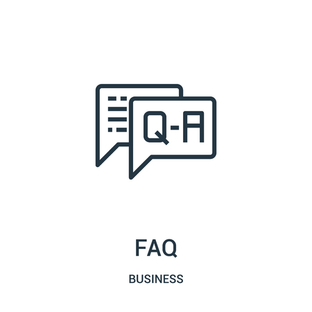 faq icon vector from business collection. Thin line faq outline icon vector illustration. Linear symbol for use on web and mobile apps, logo, print media. Çizim
