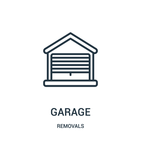 garage icon vector from removals collection. Thin line garage outline icon vector illustration. Linear symbol for use on web and mobile apps, logo, print media. Foto de archivo - 123470919
