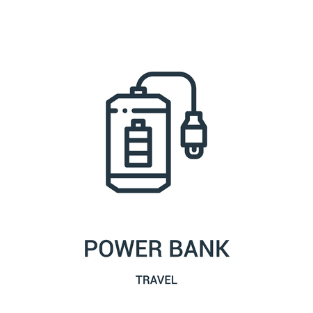 power bank icon vector from travel collection. Thin line power bank outline icon vector illustration. Linear symbol for use on web and mobile apps, logo, print media.