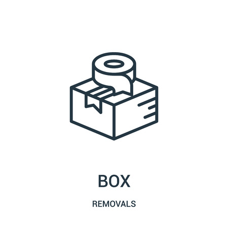 box icon vector from removals collection. Thin line box outline icon vector illustration. Linear symbol for use on web and mobile apps, logo, print media.