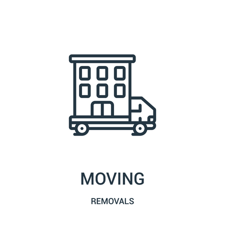 moving icon vector from removals collection. Thin line moving outline icon vector illustration. Linear symbol for use on web and mobile apps, logo, print media. Banque d'images - 124035737