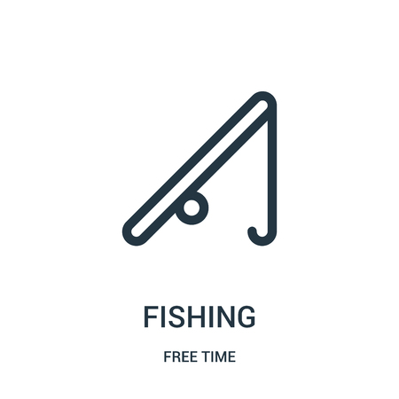 fishing icon vector from free time collection. Thin line fishing outline icon vector illustration. Linear symbol for use on web and mobile apps, logo, print media.