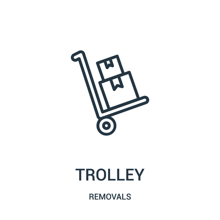 trolley icon vector from removals collection. Thin line trolley outline icon vector illustration. Linear symbol for use on web and mobile apps, logo, print media. Banque d'images - 124035742