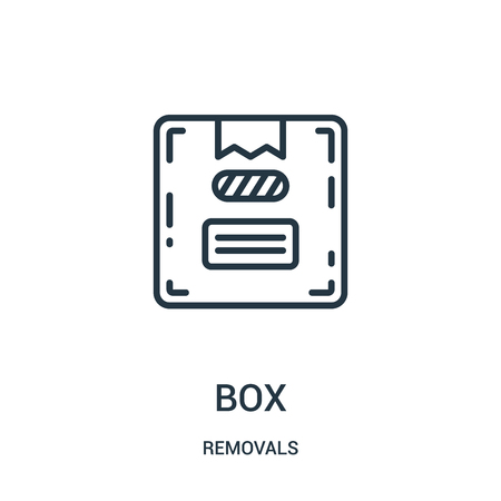box icon vector from removals collection. Thin line box outline icon vector illustration. Linear symbol for use on web and mobile apps, logo, print media. Banque d'images - 124035750