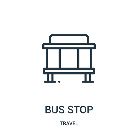 bus stop icon vector from travel collection. Thin line bus stop outline icon vector illustration. Linear symbol for use on web and mobile apps, logo, print media.