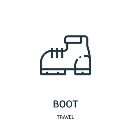 boot icon vector from travel collection. Thin line boot outline icon vector illustration. Linear symbol for use on web and mobile apps, logo, print media.