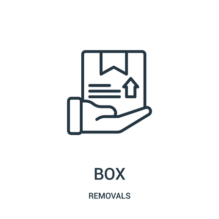 box icon vector from removals collection. Thin line box outline icon vector illustration. Linear symbol for use on web and mobile apps, logo, print media. Banque d'images - 124035769