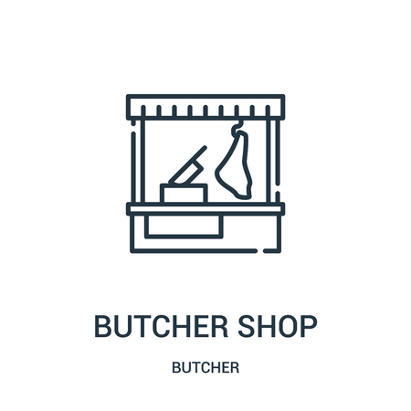 butcher shop icon vector from butcher collection. Thin line butcher shop outline icon vector illustration. Linear symbol for use on web and mobile apps, logo, print media.