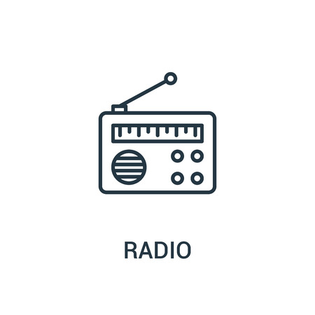 radio icon vector from ads collection. Thin line radio outline icon vector illustration. Linear symbol for use on web and mobile apps, logo, print media.