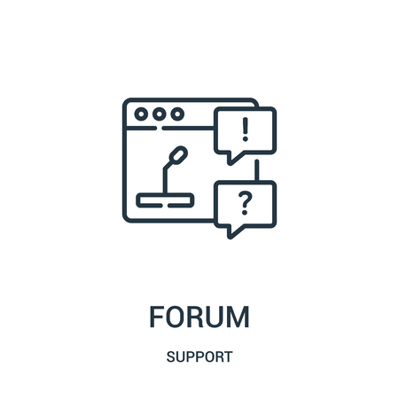 forum icon vector from support collection. Thin line forum outline icon vector illustration. Linear symbol for use on web and mobile apps, logo, print media.