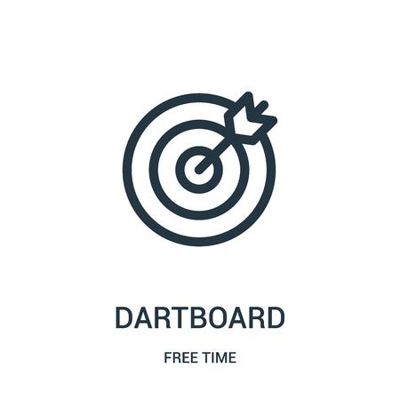dartboard icon vector from free time collection. Thin line dartboard outline icon vector illustration. Linear symbol for use on web and mobile apps, logo, print media.