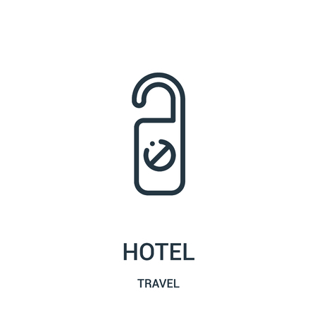 hotel icon vector from travel collection. Thin line hotel outline icon vector illustration. Linear symbol for use on web and mobile apps, logo, print media. Ilustração