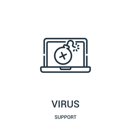 virus icon vector from support collection. Thin line virus outline icon vector illustration. Linear symbol for use on web and mobile apps, logo, print media.