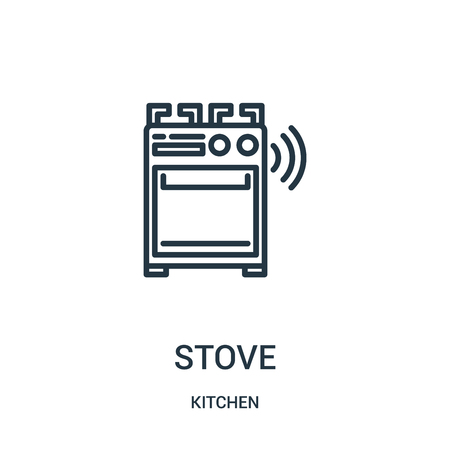 stove icon vector from kitchen collection. Thin line stove outline icon vector illustration. Linear symbol for use on web and mobile apps, logo, print media.