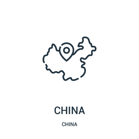 china icon vector from china collection. Thin line china outline icon vector illustration. Linear symbol for use on web and mobile apps, logo, print media. 向量圖像